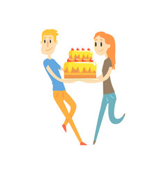 young couple holding festive cake cartoon vector image