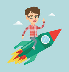young woman flying on business start up rocket vector image