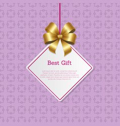best gift cover design with golden bow hanging tag vector image vector image