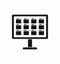 Desktop of computer with folders icon vector image