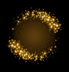 Gold glittering star dust circle vector