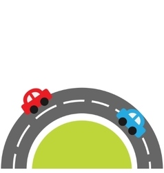 Round road on the bottom and cartoon cars Flat vector image