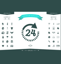 open around the clock symbol icon opening hours vector image