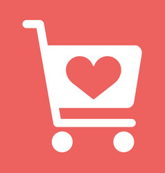store cart icon with shape of the heart vector image vector image