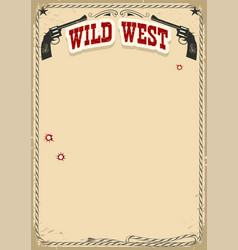 wild west poster background with revolvers and vector image