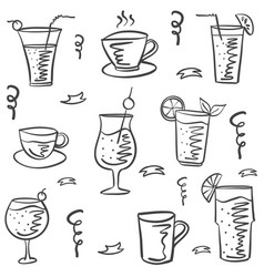 collection drink theme doodle style vector image vector image