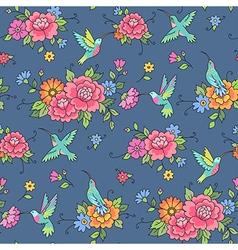 floral pattern colibri blue vector image