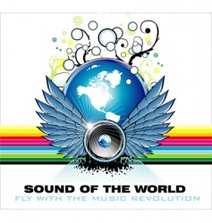 music world rainbow background vector image vector image