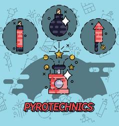 pyrotechnics festival flat icons set vector image