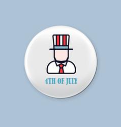 steel round badge set patriotic brooch 4th of vector image