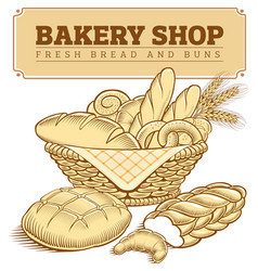 fresh bakery foods in basket bread croissant vector image