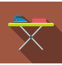 Ironing board with iron flat vector image