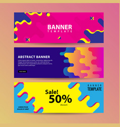 Abstract motion banners colorful geometric shapes vector