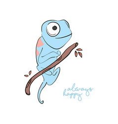 always happy iguana print hand-drawn lizard vector image
