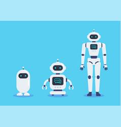 Android robots set cyborg technology vector
