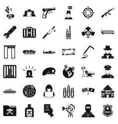 Antiterrorist organization icons set simple style vector