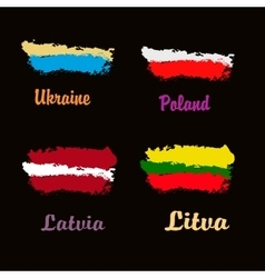 Art flag Watercolor flag of Litva Latvia vector
