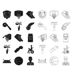 Basketball and attributes blackoutline icons in vector