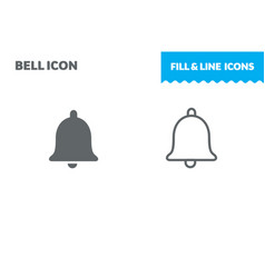 bell icon fill and line flat design ui vector image