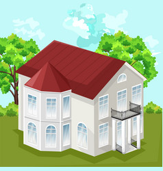 big house white house classic style with 2 vector image