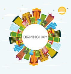 Birmingham skyline with color buildings blue sky vector