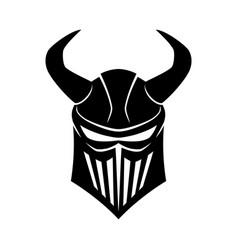 black knights helmet with horns vector image