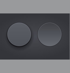 black plastic buttons 3d round signs vector image