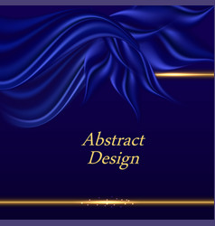 Blue satin background with wavy drapes luxurious vector