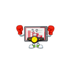 Boxing down chart horizontal table with mascot vector