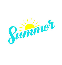 bright turquoise summer hand lettering vector image