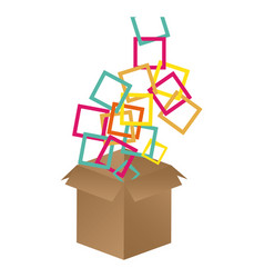 brown box opened with colored square icon vector image