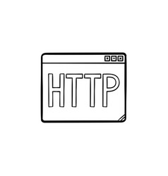 browser window with http text hand drawn outline vector image