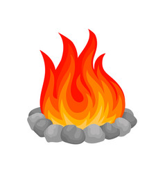 burning bonfire with stones on vector image
