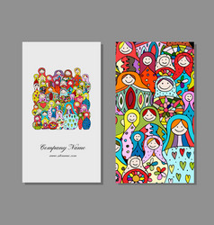 Business cards set matryoshka russian nesting vector