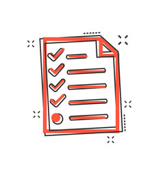 cartoon checklist icon in comic style document vector image