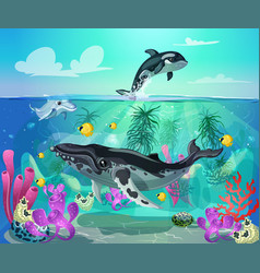 Cartoon colorful sea life background vector