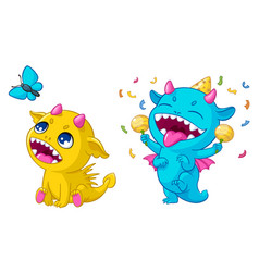 cartoon monsters playing vector image