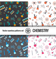 Chemistry doodle patterns set vector
