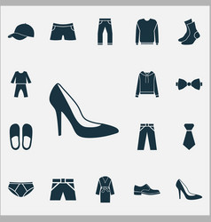 Clothes icons set with socks pajamas briefs and vector