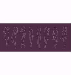 collection of silhouettes of young beautiful long vector image