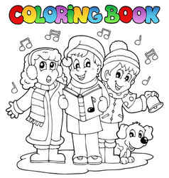 Coloring book carol singing theme 1 vector