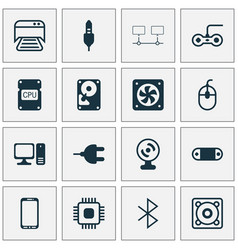 computer icons set collection of cpu connector vector image