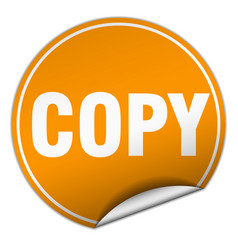 Copy round orange sticker isolated on white vector
