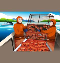 crab fishermen catching crabs in sea vector image