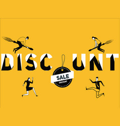 creative word concept discount and people doing vector image
