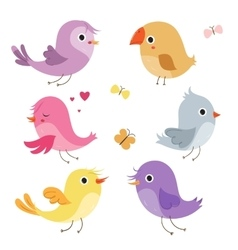Cute birds in vector image