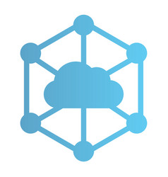 Data cloud flat icon computer storage color icons vector