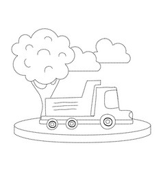 dotted shape dump truck in the city with clouds vector image