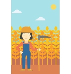 Female farmer with scythe vector