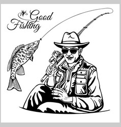fisherman with a fishing rod pulls a fish vector image